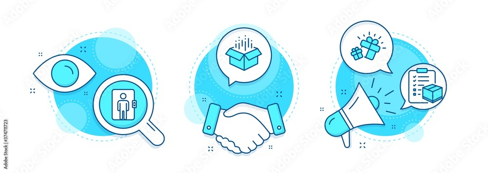 Fototapeta Gift, Open box and Parcel checklist line icons set. Handshake deal, research and promotion complex icons. Elevator sign. Marketing box, Delivery package, Logistics check. Office transportation. Vector