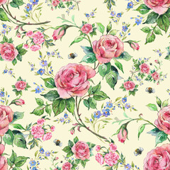 Panel Szklany Podświetlane Vintage Seamless pattern lovely roses and peonies with foliage