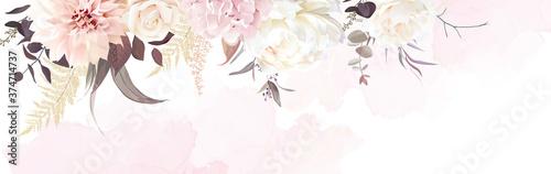 Fotografering Luxurious beige trendy vector design watercolor banner frame