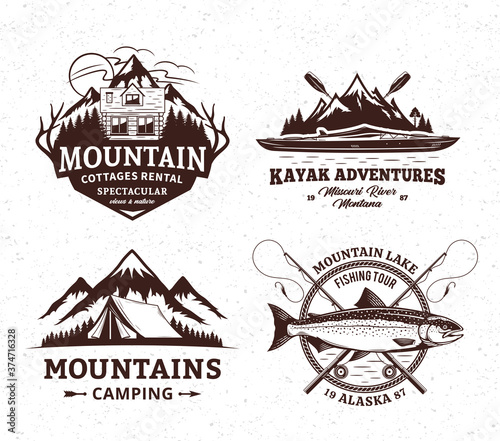Vector mountain and outdoor active recreation and tourism badges Fotobehang