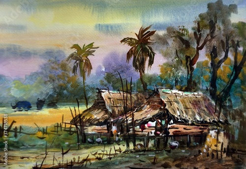 Fotografie, Obraz Art painting Hand drawn WaterColor hut  birds    from thailand