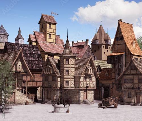 Obraz European medieval or fantasy town square on a sunny day - fototapety do salonu