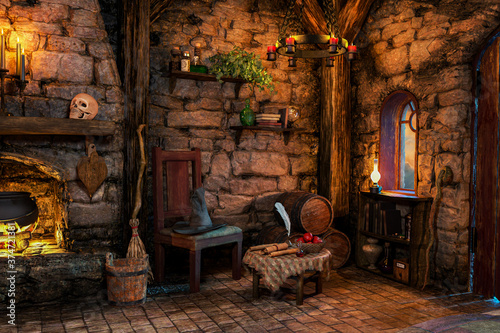 Tablou Canvas Fantasy Witch Cottage Interior, 3D illustration, 3D rendering
