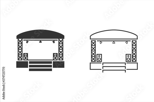 Obraz Concert stage line icon set on white. Vector illustration - fototapety do salonu