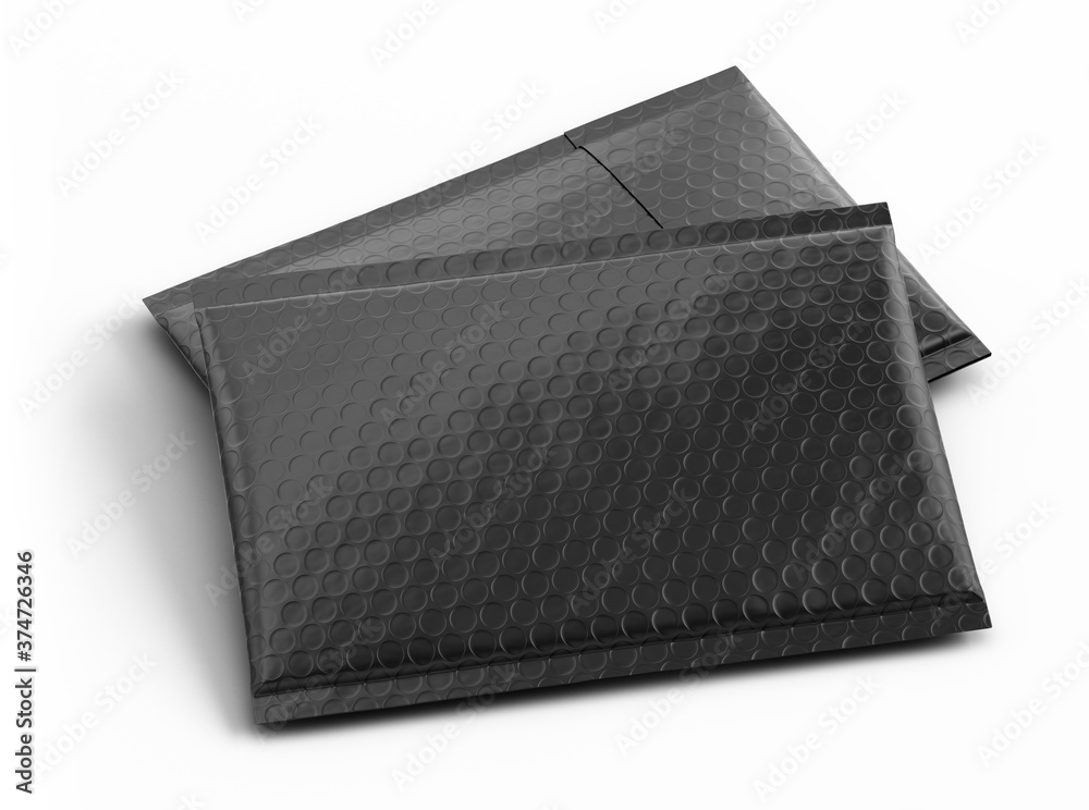 Fototapeta Pair of Small black paper delivery mail post packet isolated on the white background. Mockup template. copy space. 3d rendering