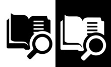 Open Book With Magnifying Glass Icon Vector Design