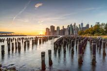 Lower Manhattan Skyline At Sunset Seen From Pier 1 At Brooklyn Bridge Park