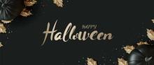 Happy Halloween Flat Lay Black Pumpkin Style On Black Background. Vector Illustration.