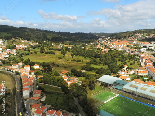Fototapeta Santiago de Compostela. Galicia. La Coruna, Spain. Aerial Drone Photo obraz na płótnie