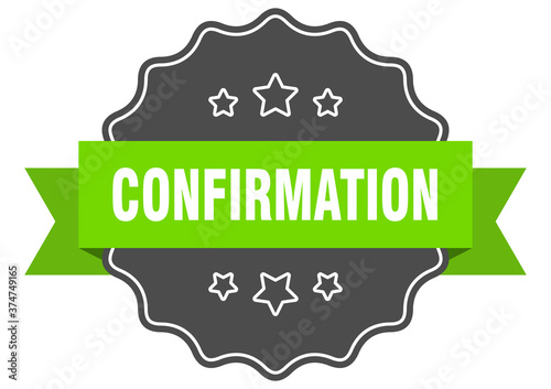 Photo confirmation label. confirmation isolated seal. sticker. sign