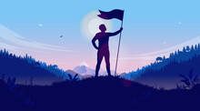 Personal Achievement - Man Holding Flag On Hilltop Celebrating Reaching His Goal. Victory, Winning And Conquer Adversity Concept. Vector Illustration.