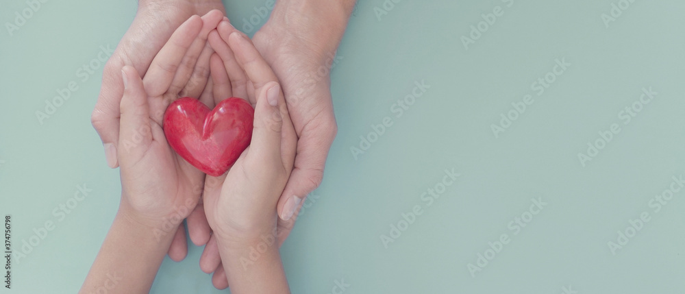 Fototapeta Adult and child hands holding red heart, organ donation, wellbeing, family health insurance and CSR concept, world heart day, world health day