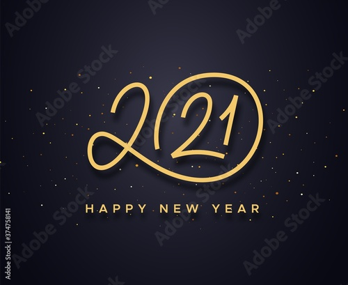 Obraz Happy New Year 2021 wishes typography text and gold confetti on luxury black background. Premium vector illustration with lettering for winter holidays - fototapety do salonu