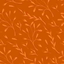 Floral Vintage Seamless Pattern On Burnt Orange Background For Fabrics, Scrapbooking, Wrapping.