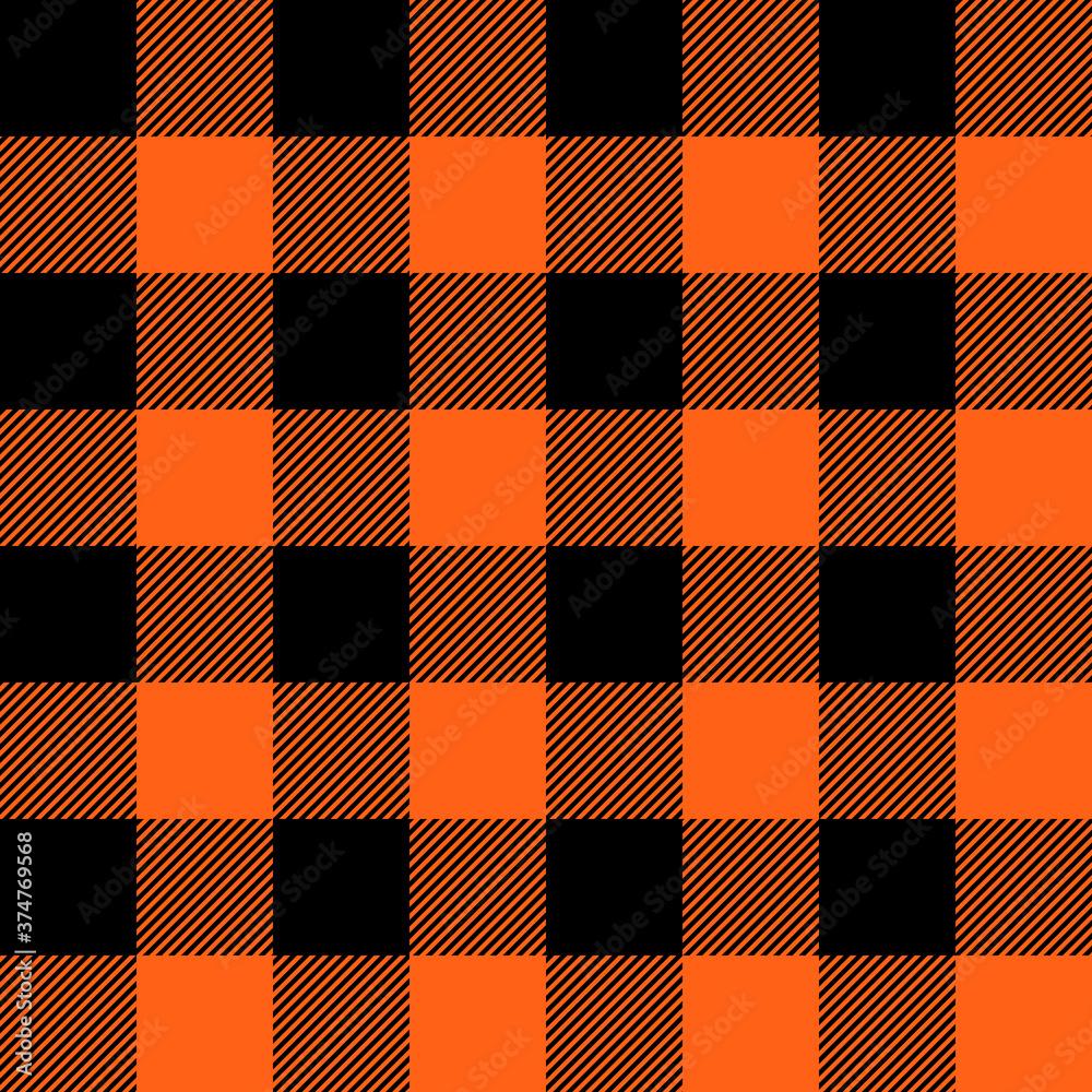 Fototapeta Tartan Halloween Orange plaid. Scottish pattern in black and orange cage. Scottish cage. Traditional Scottish checkered background. Seamless fabric texture. Vector illustration