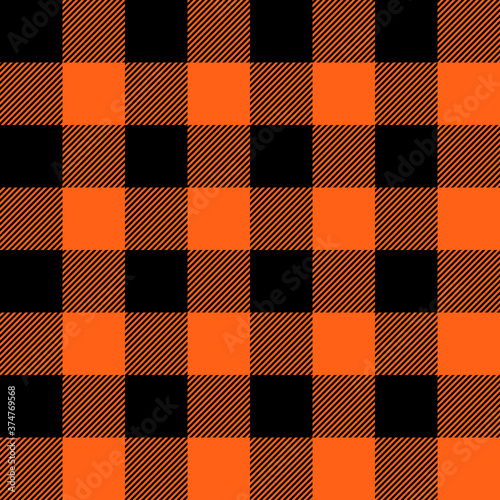 Canvastavla Tartan Halloween Orange plaid