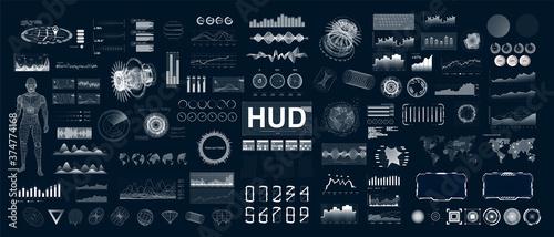 Large and detailed HUD, UI, GUI set elements for VR and web design Fotobehang