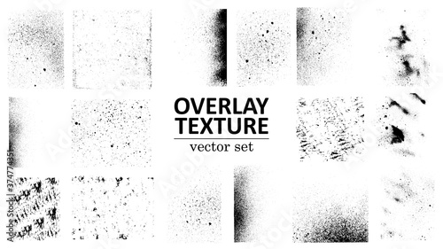 Obraz Overlay texture set. Different types of texture stamps (damaged, paint, old, concrete and other). Vector collection urban grunge overlay. Paint texture with spray effect and drop ink splashes. Vector - fototapety do salonu