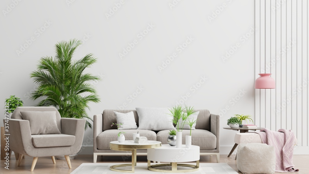 Fototapeta Bright and cozy modern living room interior have sofa,armchair and lamp with white wall background.