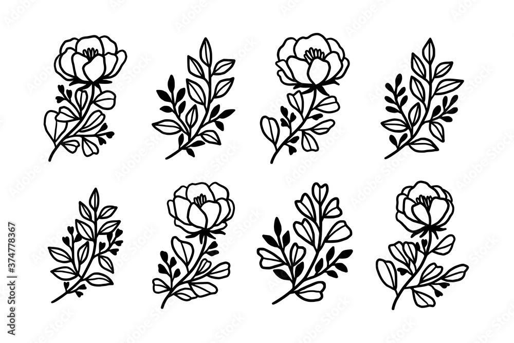 Fototapeta Set of hand drawn monochrome plant, leaf, and foliage line art for wedding invitation, card, logo, engagement, organic brand, product, or botanical logo. Feminine beauty emblem element collection