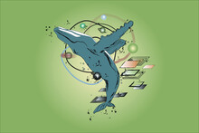 Art Picture Of Whale With Grap...