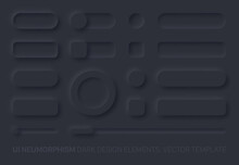 Neumorphic Vector UI Design Elements Set Dark Version. UI Components And Shapes Buttons, Bars, Switchers, Sliders In Simple Elegant Trendy Neomorphic Style For Apps, Websites, Interfaces