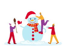 Christmas Or New Year Greeting Card - Tiny Men And Women Are Making Snowman. Winter Day Outdoor Activity For Friends, Mini People Characters Flat Cartoon - Vector Composition For Card Or Poster