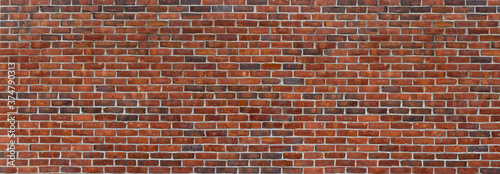 Old Red ,Brown, Dark Brown Brick Wall with Light Mortar Fototapete