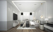 Leinwanddruck Bild - Modern luxury bedroom interior design and white and grey pattern wall background and tv wall