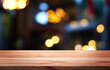 canvas print picture - Empty wood table,bar on blurred  bokeh restaurant or cafe background./Can used for display or montage your products.