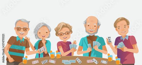 Vászonkép elderly playing games