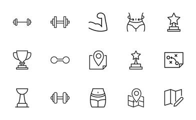 Stroke line icons set of lifestyle.
