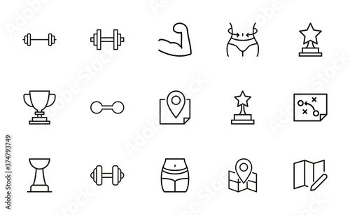Fotografering Stroke line icons set of lifestyle.