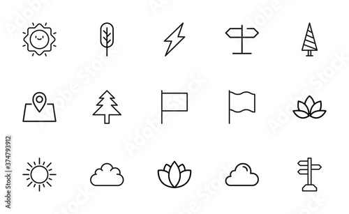 Tela Vector line icons collection of outdoors.