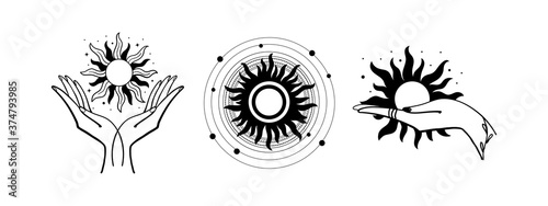 Set of mystical logos with the sun. The hand holds the sun. Set of vector drawings for tattoo, boho design, astrology, horoscope. Black doodle illustration isolated on white background.