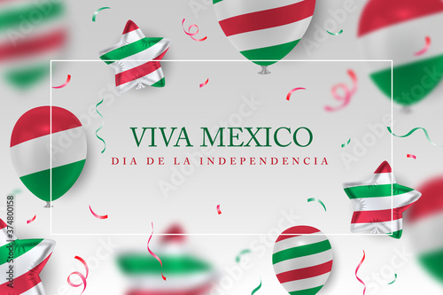 Fotomural Viva mexico Independence Day vector background with realistic 3d balloons