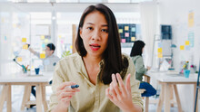 Asia Businesswoman Social Dist...