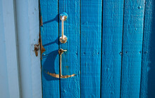 Wooden Beach Hut Door Detail, ...