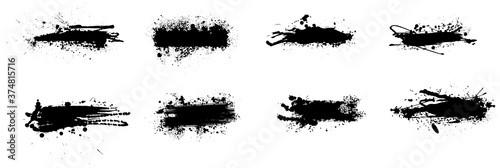 Obraz Ink splashes stencil. High quality manually traced. Isolated Silhouettes dirty liquid vector grunge. Vector grunge silhouette set color dirty liquid. Black inked spray splash with drops blots isolated - fototapety do salonu