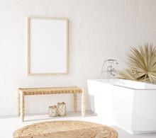 Poster Mockup In Cozy Nomadic Bathroom Interior Background, 3d Render