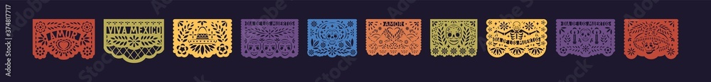 Fototapeta Bright festive set of mexico paper lace. Decorative papel picado with skull for Halloween or Dia De Los Muertos. Flat vector illustration of fiesta pattern for Day of the Dead isolated on black
