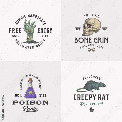 Obraz na plátne Vintage Style Halloween Logos or Labels Template Set