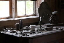 Old Craftsman's Desk By The Wi...