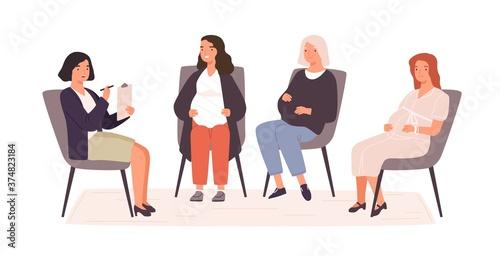 Obraz na plátně Group of pregnant women visited childbirth or psychology support courses vector flat illustration