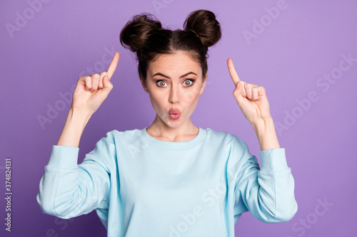 Close-up portrait of her she nice-looking attractive pretty funky cheery girl pointing at new hairdo pout lips isolated over violet purple lilac bright vivid shine vibrant color background