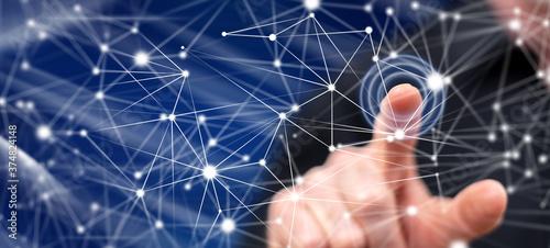 Fototapeta Man touching a network