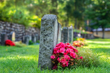 Row Of Grave Stones With Flowe...