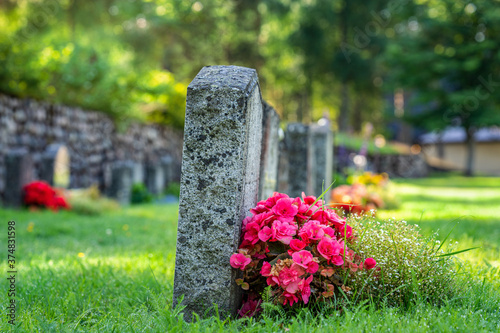 Cuadros en Lienzo Row of grave stones with flowers at a cemetery in Sweden