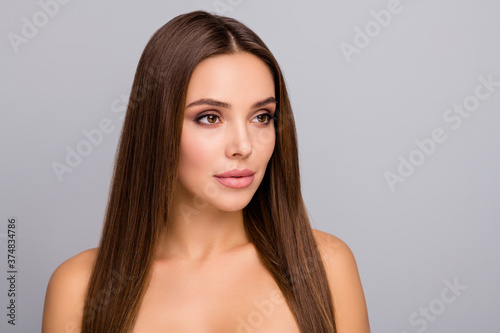 Close-up portrait of her she nice-looking attractive lovely charming gorgeous winsome straight-haired girl perfect clean clear skin isolated over gray pastel color background