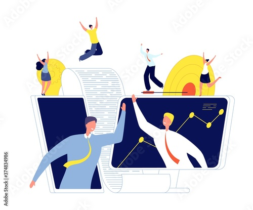Online business agreement. Startup investors, conclusion deal and partnership. Man handshake, new teamwork technology vector illustration. Business agreement online, internet deal contract